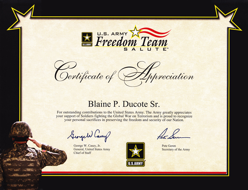 Certificates and partnerships Operation Soldier Assist – Army Certificate of Appreciation